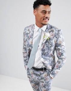 Разноцветный пиджак зауженного кроя с цветочным принтом boohooMAN Wedding - Мульти