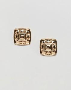 Массивные квадратные серьги-гвоздики с декоративными вырезами ASOS DESIGN - Золотой