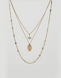 Ожерелье в несколько рядов с подвесками в виде звезды и диска ASOS DESIGN - Золотой