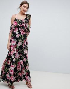 Платье макси с запахом и темным цветочным принтом ASOS DESIGN - Мульти