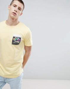 Длинная футболка с принтом на кармане Only & Sons - Желтый