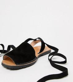 Замшевые сандалии для широкой стопы с завязкой Park Lane - Черный