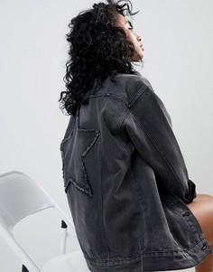 Джинсовая oversize-куртка со звездой Noisy May Moli - Черный