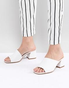 Кожаные босоножки на каблуке ASOS DESIGN Tatiana - Белый