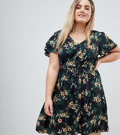 Платье с цветочным принтом New Look Curve - Черный