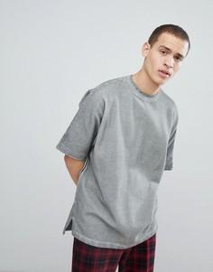 Серая oversize-футболка с эффектом кислотной стирки Mennace - Серый