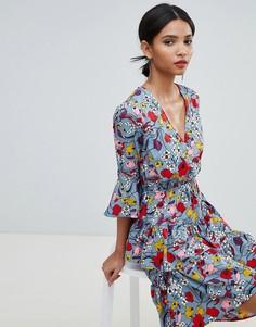 Платье с запахом и оборками Y.A.S - Мульти