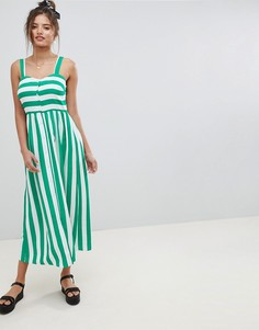 Платье макси в полоску с пуговицами и добавлением льна ASOS DESIGN - Мульти
