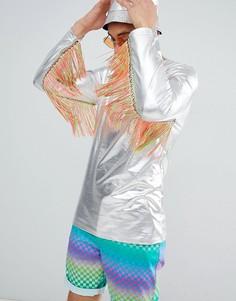 Фестивальный удлиненный лонгслив металлик с радужной бахромой на рукавах ASOS DESIGN - Серебряный