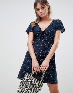 Платье в горошек с узлом спереди Abercrombie & Fitch - Темно-синий