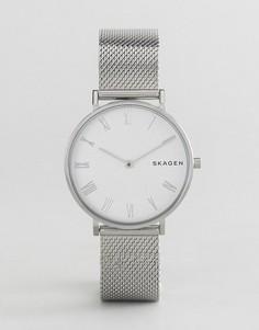 Серебристые часы с сетчатым ремешком Skagen SKW2712 - Серебряный