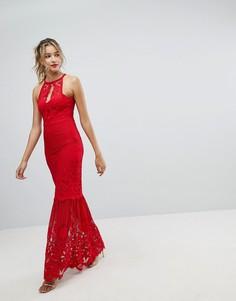 Кружевное платье макси с юбкой годе Lipsy - Красный