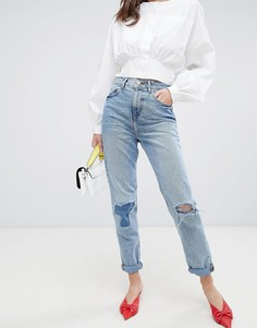Синие джинсы в винтажном стиле с рваной отделкой ASOS DESIGN - Синий