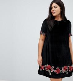 Бархатное платье с вышитыми розами Club L Plus - Черный