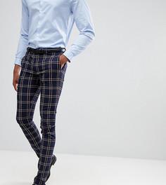 Темно-синие брюки скинни в клетку ASOS DESIGN Tall - Темно-синий