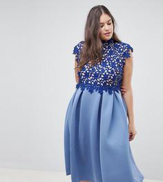Платье для выпускного с высоким воротом и кружевом ASOS DESIGN Curve - Темно-синий