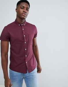 Бордовая облегающая оксфордская рубашка ASOS DESIGN - Красный