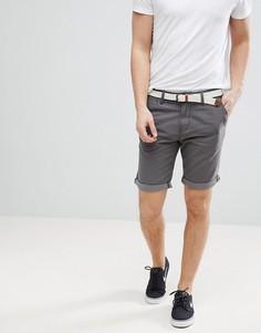 Серые облегающие шорты чиносы с ремнем Tom Tailor - Серый