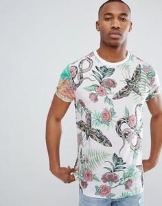 Свободная футболка с цветочным принтом ASOS DESIGN - Мульти