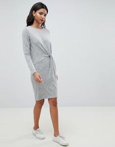 Трикотажное платье с перекрученной отделкой Esprit - Серый