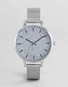 Часы с блестками ASOS DESIGN - Серебряный