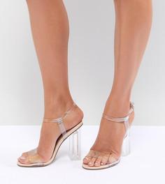 Босоножки на прозрачном каблуке QUPID - Бежевый