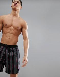 Черно-розовые пляжные шорты длиной 17 дюймов в полоску Quiksilver Mad Wax Volley - Черный