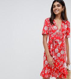 Платье миди с цветочным принтом и запахом Parisian Tall - Красный
