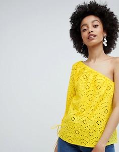 Топ на одно плечо с вышивкой ришелье Only - Желтый