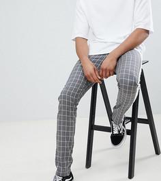 Серые брюки слим в клетку с полосками по бокам ASOS DESIGN Tall - Серый