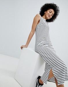 Трикотажное платье макси в полоску без рукавов JDY - Мульти