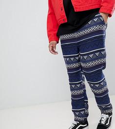 Фестивальные синие зауженные брюки с эластичным поясом ASOS DESIGN Plus - Синий
