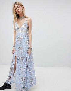 Кружевное платье макси с разрезом Kiss The Sky - Фиолетовый