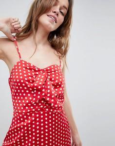 Платье в горошек с бантом Parisian - Красный