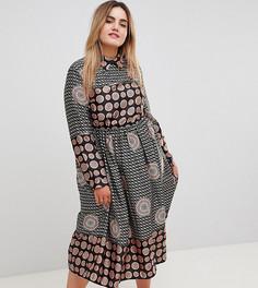 Платье макси с длинными рукавами, поясом и принтом Uttam Boutique Plus - Мульти