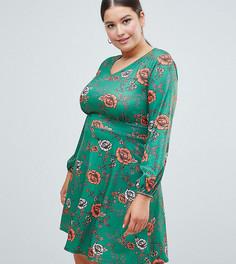 Короткое приталенное платье с глубоким V-образным вырезом и цветочным узором Club L Plus - Мульти