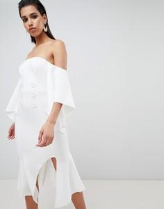 Платье миди с пуговицами и рукавами кимоно ASOS DESIGN - Белый