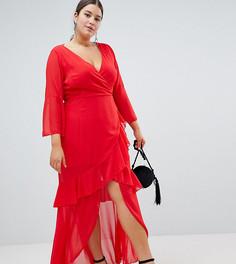 Шифоновое платье макси с оборками Boohoo Plus - Красный