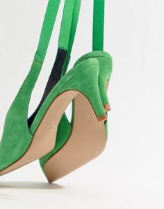 Замшевые туфли на каблуке ASOS WHITE Foxglove - Зеленый