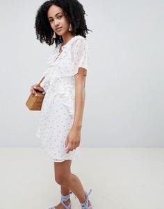 Чайное платье мини с цветочным принтом и оборками Lost Ink - Мульти
