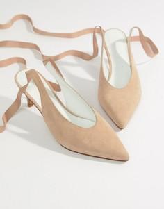 Замшевые туфли на каблуке ASOS WHITE Foxglove - Бежевый