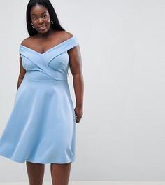 Короткое приталенное платье для выпускного Club L Plus - Синий
