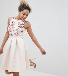 Короткое приталенное платье с вышивкой Little Mistress petite - Кремовый