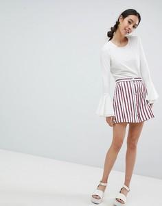 Белая мини-юбка в полоску Monki - Мульти