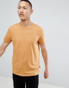 Светло-коричневая футболка классического кроя Burton Menswear - Золотой