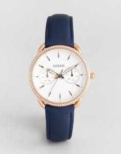 Часы с корпусом цвета розового золота и темно-синим кожаным ремешком Fossil ES4394 Tailor - Темно-синий