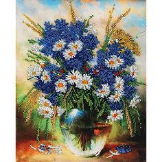 Набор для вышивания бисером Белоснежка «Ромашки и васильки», 24х30 см