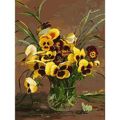 Картина по номерам Белоснежка «Анютины глазки в вазе», 30x40 см