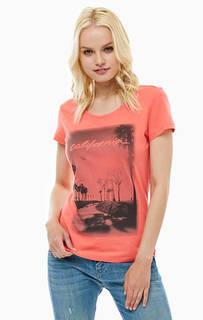 Хлопковая футболка ярко-кораллового цвета Mustang