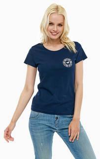 Синяя хлопковая футболка с короткими рукавами Mustang